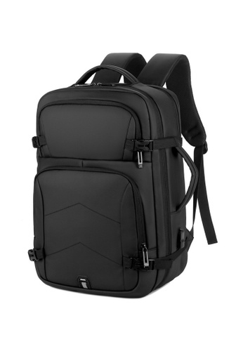Lara 黑色 男士韓系商務USB充電端口筆記本電腦背包 - 黑色 0EAC4AC8FCD9C1GS_1