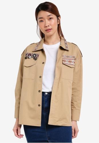 Something Borrowed brown Embellished Pieced Utility Shirt 02EA7ZZ7EFC758GS_1