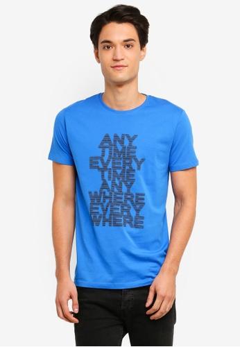 ESPRIT 藍色 短袖T恤 A77F7AAE42951CGS_1