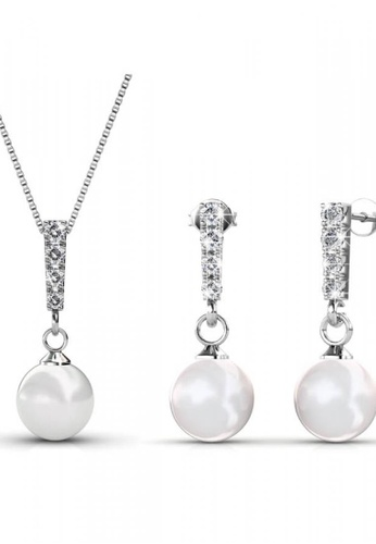 Her Jewellery silver Swarovski® Crystals - Mercury Set (18K White Gold Plated) Her Jewellery HE581AC0RBBDMY_1