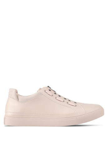 ZALORA beige Contemporary Zip Up Sneakers 2B16BSH2BBB155GS_1