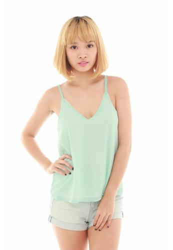 LUXORA green Glittering Green Mint Chiffon Stripe Top LU926AA65QDMSG_1