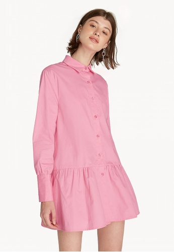 Buy Pomelo Mini Frill Hem Shirt Dress - Pink Online on ZALORA Singapore 7fe11a07d