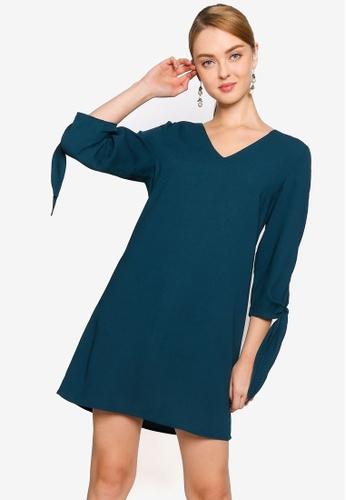 ZALORA WORK green Oversized Tie Sleeves Dress 06664AA4798281GS_1