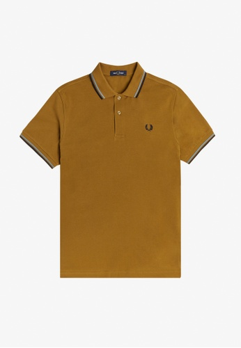 FRED PERRY brown M3600 - Twin Tipped Fred Perry Shirt  - (Dark Caramel) E8C96AAF33FEB9GS_1