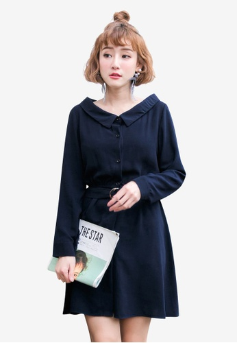 Tokichoi navy Belted Buttoned Up Dress 58B91AAD11D4CCGS_1