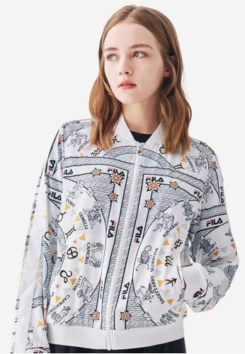 FILA white All Over Zodiac Theme Print Bomber Jacket D8D2EAAFA6475FGS_1