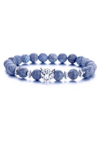 YOUNIQ blue YOUNIQ Leopard Head Lava Stone More Black & Blue Fashion Round Bracelet 7702CAC1277655GS_1
