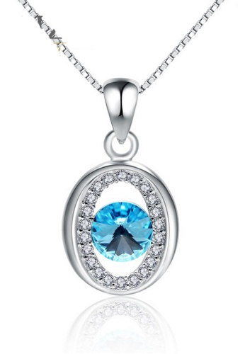 LYCKA blue and silver LPP88126 S925 Silver Necklace F275CAC021A249GS_1
