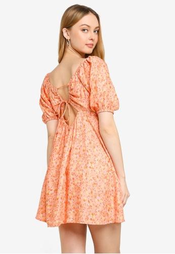 Cotton On orange Woven Patty Open Back Tea Dress E546BAA74DA4EBGS_1