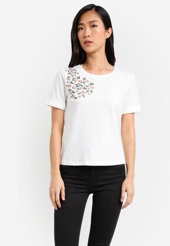 ZALORA white Embroidered Front Tee E14F2ZZBCE7620GS_1