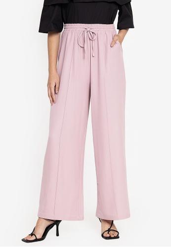 ZALORA BASICS pink Drawstring Wide Leg Pants DA415AA2F7CF64GS_1