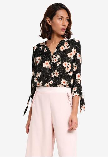 Dorothy Perkins black Petite Black Floral Spot Shirt 4549EAA5E84EC6GS_1