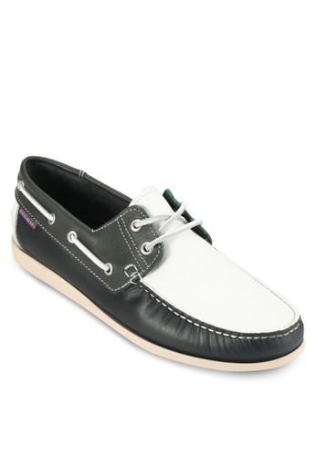 對比色拼接皮esprit 工作革船型鞋, 鞋, 鞋