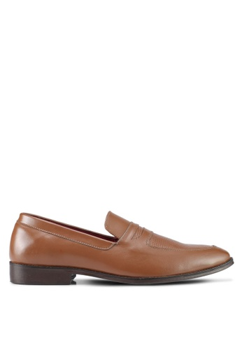 ACUTO brown Leather Loafers AC283SH0SL5SMY_1
