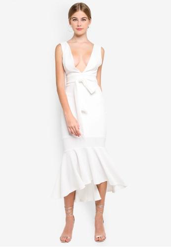 INDIKAH white Plunge Neck Mermaid Hem Midi Dress 84EABAAAF22CEAGS_1