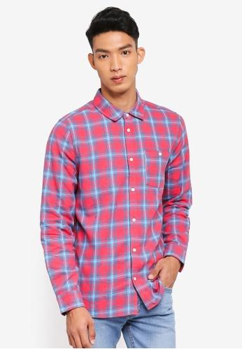 Cotton On 紅色 格紋長袖襯衫 8D15CAAA369263GS_1