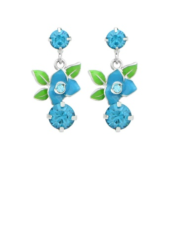 Glamorousky silver Antique Blue Flower Earrings with Blue Austrian Element Crystals 37F81AC0CD5937GS_1