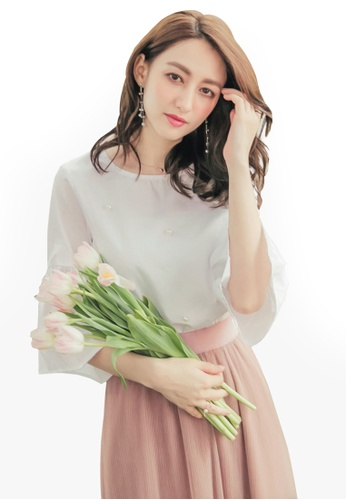 Yoco white Pearl Pleated Sleeve Blouse F010EAA451461EGS_1
