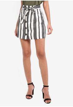 Stripe Paperbag Button Skirt
