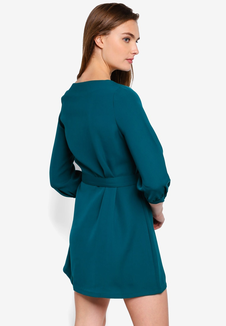 Sleeves Balloon Basic Belt Green ZALORA BASICS Dress With Forest 5OpzxnRp