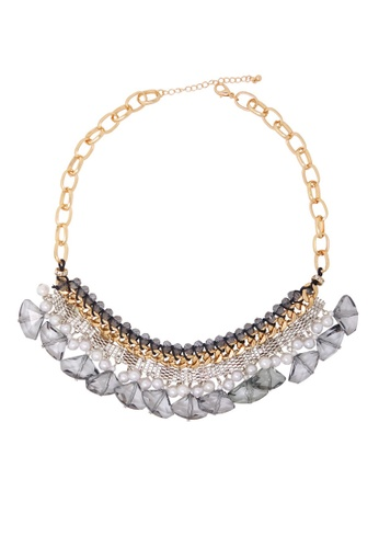 Jaysa Collection gold Handcrafted Metallic Lace Jewels Statement Necklace BFF92ACD643B95GS_1