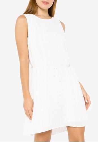 Banana Republic white Sleeveless Pleated Mini Dress 45909AA7EECFA3GS_1