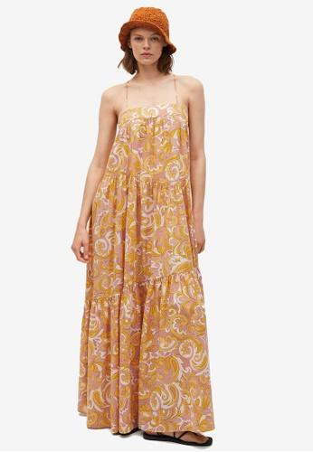 Mango yellow Frill Cotton Dress 2AA77AABB8D0CBGS_1