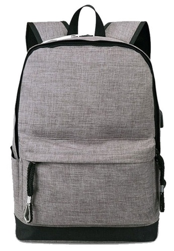 Jackbox grey Korean Fashion Simple Design Ipad Laptop Bag USB Charging Port Backpack 532 (Grey) 05168AC51ECA33GS_1