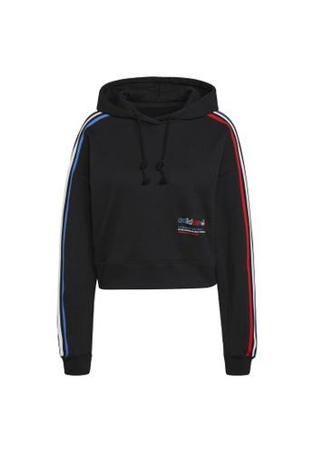 ADIDAS black adidas Originals Adicolor Tricolor Trefoil Crop Hoodie 0FC4CAA99EF3BCGS_1