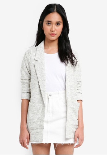TOPSHOP white Jersey Boucle Blazer Jacket 94FBEAAF6F5C7CGS_1