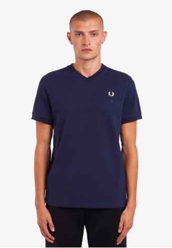 Fred Perry blue M9672 - Pocket Detail Pique V Neck Tee - (Carbon Blue) 73A01AAFE207DAGS_1
