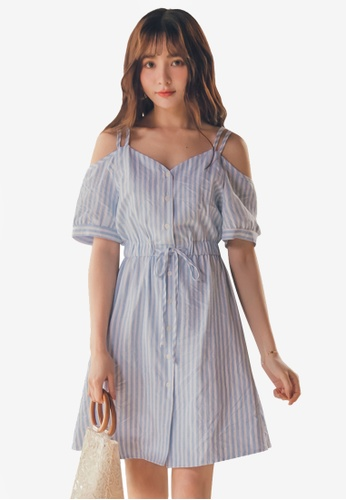 Yoco blue Striped Tie-Front Cami Dress 9F58AAA13C1490GS_1