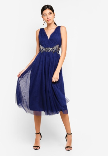 Little Mistress navy Navy Applique Prom Dress 57B0CAA8296EDBGS_1