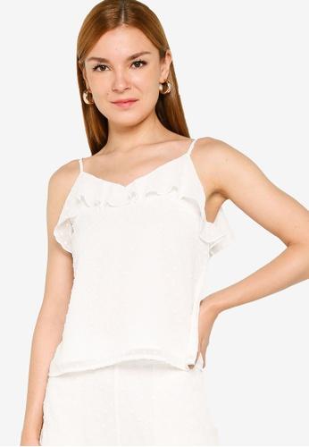 ZALORA OCCASION 白色 Ruffle Cami Top C232BAA81A8B6EGS_1