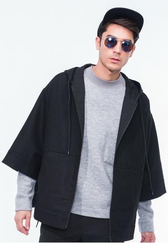 Alpha Style black Kahlil Hood Cape AL461AA0GYGWSG_1