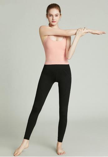 HAKA ACTIVE 粉紅色 瑜伽運動塑身含胸墊短款背心上衣 D3284AA33895A4GS_1