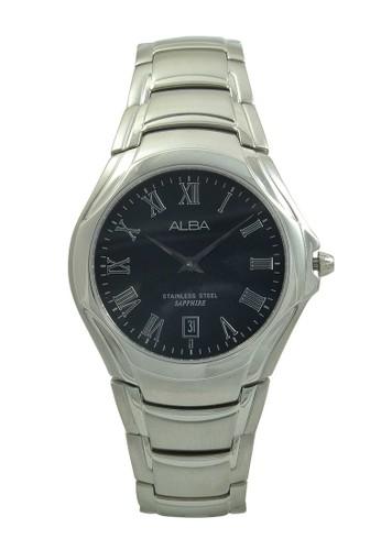 Alba silver ALBA Jam Tangan Pria - Silver Black - Stainless Steel - AVKE13 AL383AC47XRKID_1