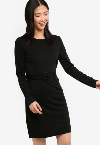 ZALORA BASICS black Basic Belted Boat Neck Dress 88CD7AAA8DFD50GS_1