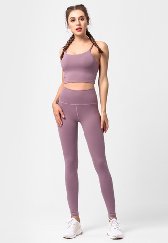 ZITIQUE purple 2-Pieces Set Fitness And Yoga Sporty Pants With Sporty Bra Top - Purple 00976USE90C938GS_1