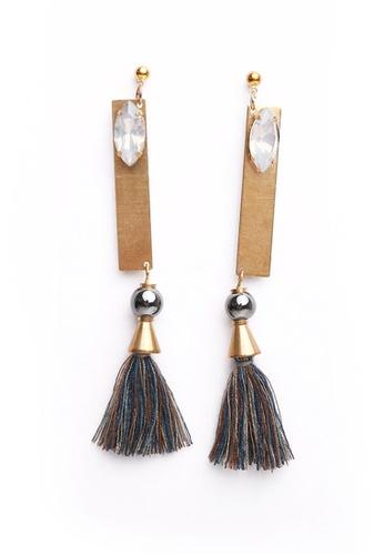 Gung Jewellery gold Liu Grey Tassel and Crystal Earrings in Antique Gold 516DCAC1BAF2ECGS_1