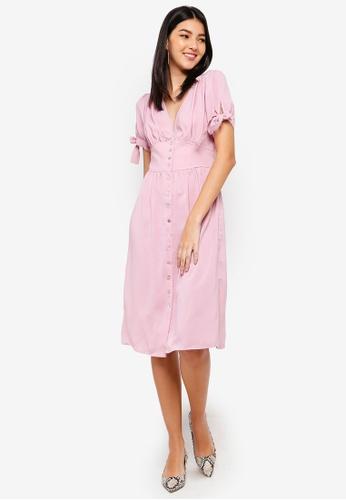 ZALORA pink Puff Sleeves V-Neck Dress 35080AA43C9590GS_1