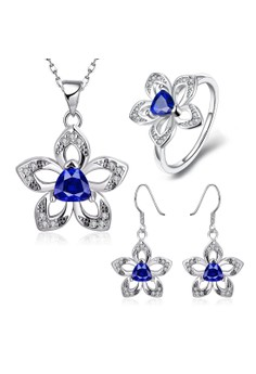 Treasure by B&D S495-C Flower Pendant Plated Necklace Ring Earrings Set Zircon Embellished Jewellery Set