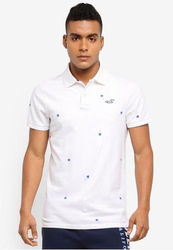 Hollister white Convo Core Polo Shirt 7C230AA9173642GS_1