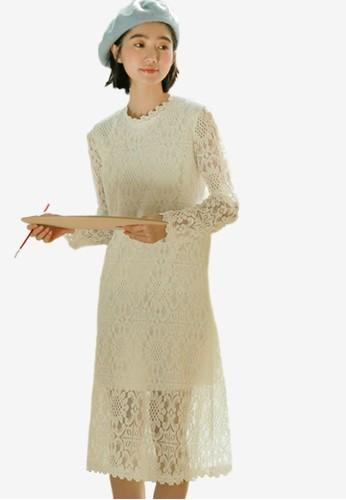 Shopsfashion white Lace Full Sleeve Dress DB5E8AA735DD81GS_1