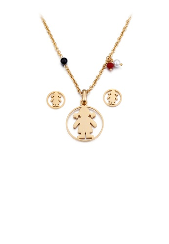 Glamorousky white Simple and Cute Plated Gold Little Girl Geometric Round 316L Stainless Steel Necklace and Stud Earrings Set 95938AC5B5FB09GS_1