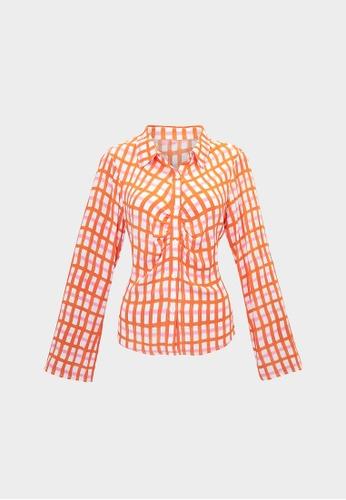 Pomelo orange Checkered Button Up Shirt - Orange 493F2AA6D66094GS_1