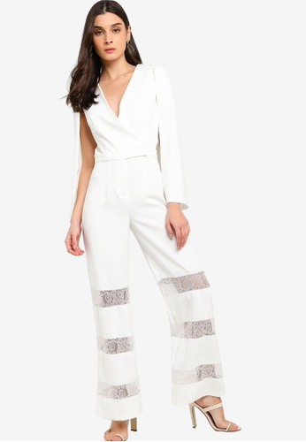Lavish Alice white Lace Insert Cape Jumpsuit 0AAD8AA4C391B2GS_1