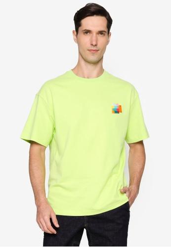URBAN REVIVO green Drop Shoulder T-Shirt 56B17AAAAAE9F7GS_1