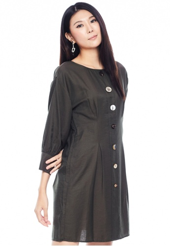Nichii green Bishop Sleeve Buttoned Midi Dress 2467CAA86F6AB4GS_1